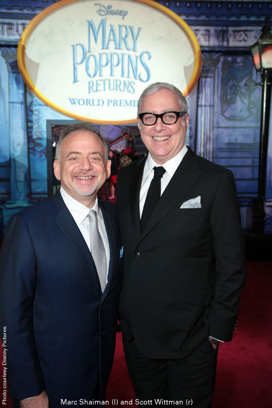 Marc Shaiman (l) and Scott Wittman (r) at Mary Poppins Returns premiere